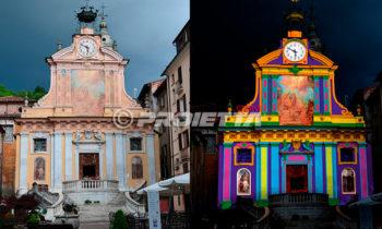 kartierte architektonische Projektion auf der Fassade einer Kirche