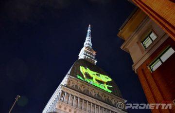 Cinema Ambiente-Videoprojektion über den Mole von Turin