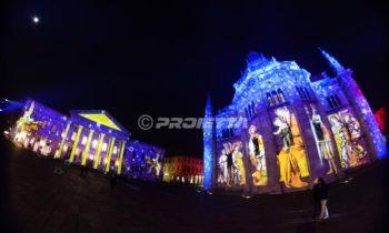 Projektion heiliger Kathedralenbilder und des Como Theaters