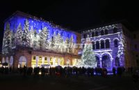 Projektion von verzaubertem Wald - Como Magic Light Festival 2015