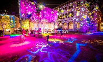Weihnachts-Projektionen mit Texturen von Sternen - Como Magic Light Festival