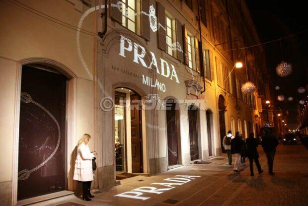 Projektion für den Prada Store in Turin